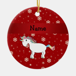 Personalized name unicorn red snowflakes round ceramic decoration