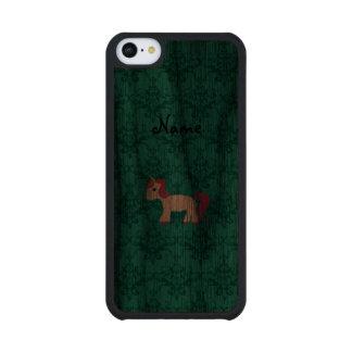Personalized name unicorn turquoise damask carved® walnut iPhone 5C case