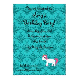 """Personalized name unicorn turquoise damask 5.5"""" x 7.5"""" invitation card"""