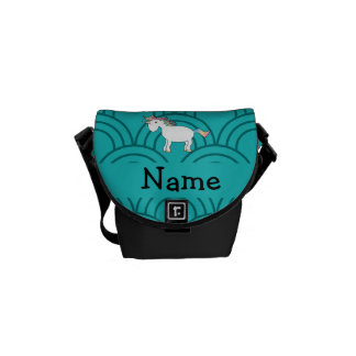 Personalized name unicorn turquoise half circles courier bag