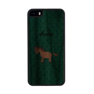 Personalized name unicorn turquoise hearts carved® walnut iPhone 5 slim case