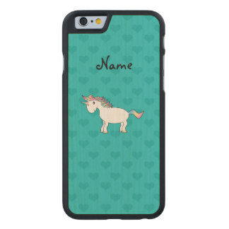 Personalized name unicorn turquoise hearts carved® maple iPhone 6 case