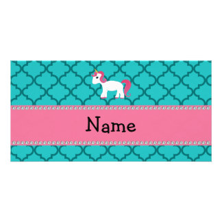 Personalized name unicorn turquoise moroccan personalized photo card