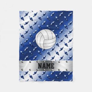 Personalized name volleyball blue diamond steel fleece blanket