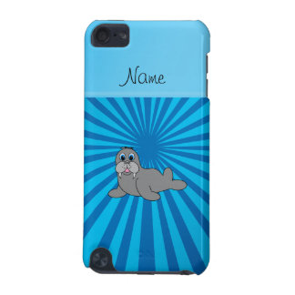 Personalized name walrus blue sunburst iPod touch 5G cases