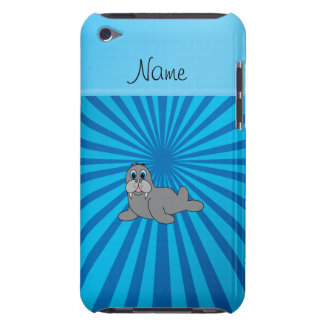 Personalized name walrus blue sunburst iPod touch covers