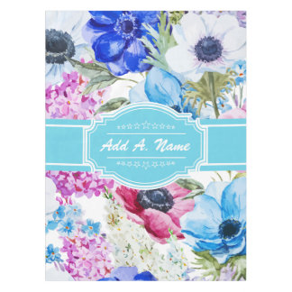 Personalized Name Watercolor Floral Pattern Tablecloth