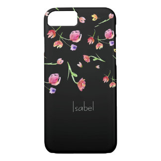 Personalized name, watercolor flowers, black iPhone 8/7 case