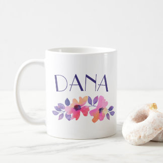 Personalized Name Watercolor Flowers Coffee Coffee Mug