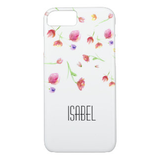 Personalized name, watercolor flowers iPhone 8/7 case