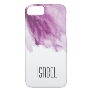Personalized name, watercolor purple, splash iPhone 8/7 case