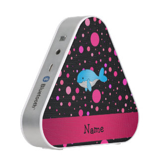 Personalized name whale pink polka dots speaker