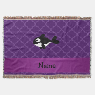 Personalized name whale purple moroccan throw blanket