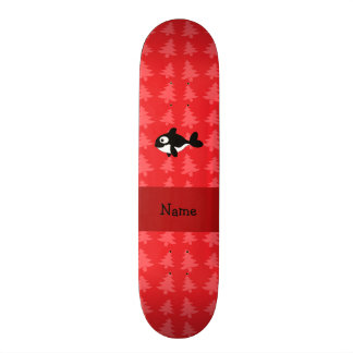 Personalized name whale red christmas trees skate board decks