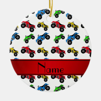 Personalized name white atv pattern ceramic ornament