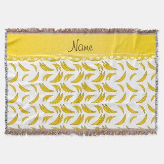 Personalized name white bananas throw blanket