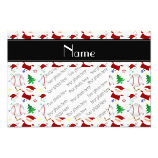 Personalized name white baseball christmas photograph