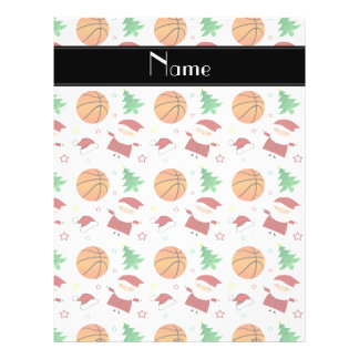 Personalized name white basketball christmas full color flyer