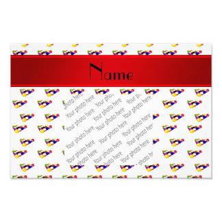 Personalized name white billiard balls red stripe photo print
