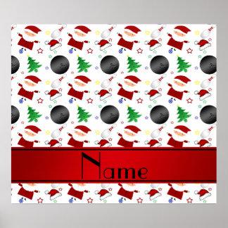 Personalized name white bowling christmas pattern print