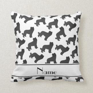 Personalized name white Briard dog Throw Pillow