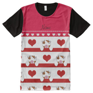 Personalized name white cows red hearts stripes All-Over print T-Shirt