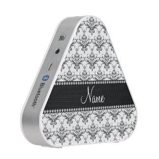 Personalized name White damask Bluetooth Speaker