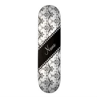 Personalized name White damask Skateboards