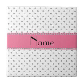 Personalized name white diamonds ceramic tile