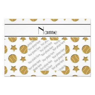 Personalized name white gold baseballs stars photo