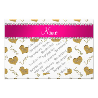 Personalized name white gold hearts mom love photo art