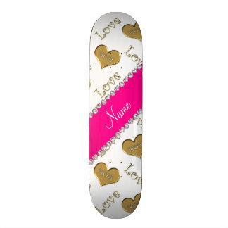 Personalized name white gold hearts mom love skate decks