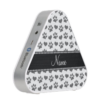 Personalized name white hearts and paw prints