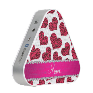 Personalized name white leopard hearts