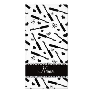 Personalized name white mascara hearts bows personalised photo card