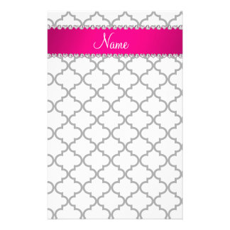 Personalized name White moroccan pink stripe Stationery Design