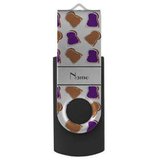 Personalized name white peanut butter jelly swivel USB 2.0 flash drive