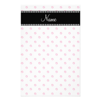 Personalized name White pink diamonds Customized Stationery