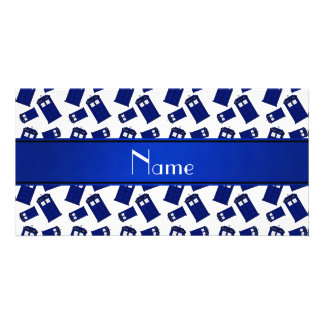 Personalized name white police box picture card