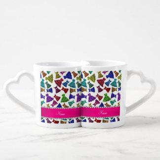 Personalized name white rainbow leopard dresses couples mug