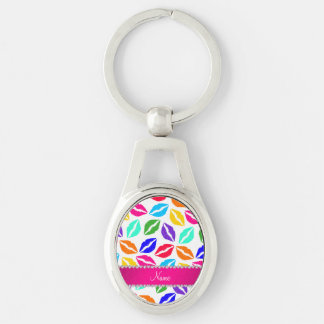 Personalized name white rainbow lipstick kisses Silver-Colored oval keychain