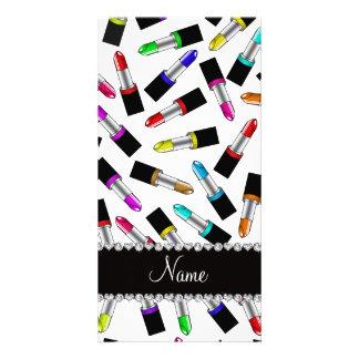 Personalized name white rainbow lipstick customised photo card