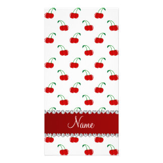 Personalized name white red cherries red stripe picture card