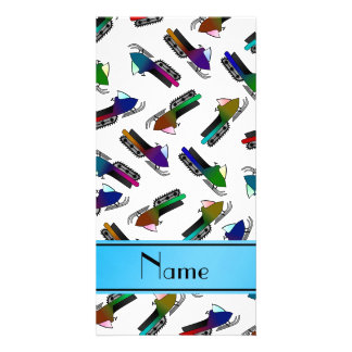 Personalized name white snowmobiles custom photo card
