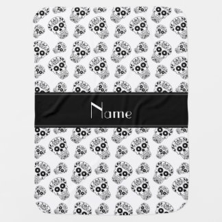 Personalized name white sugar skulls buggy blanket