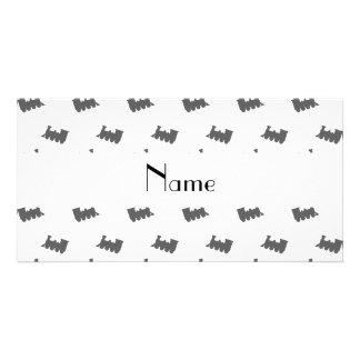 Personalized name white train pattern custom photo card