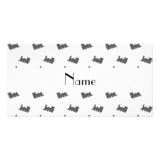 Personalized name white train pattern photo card template
