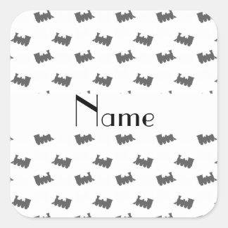 Personalized name white train pattern sticker