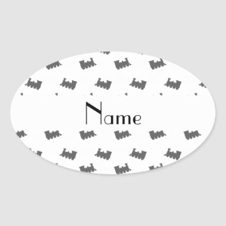 Personalized name white train pattern stickers