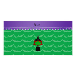Personalized name witch green bats custom photo card